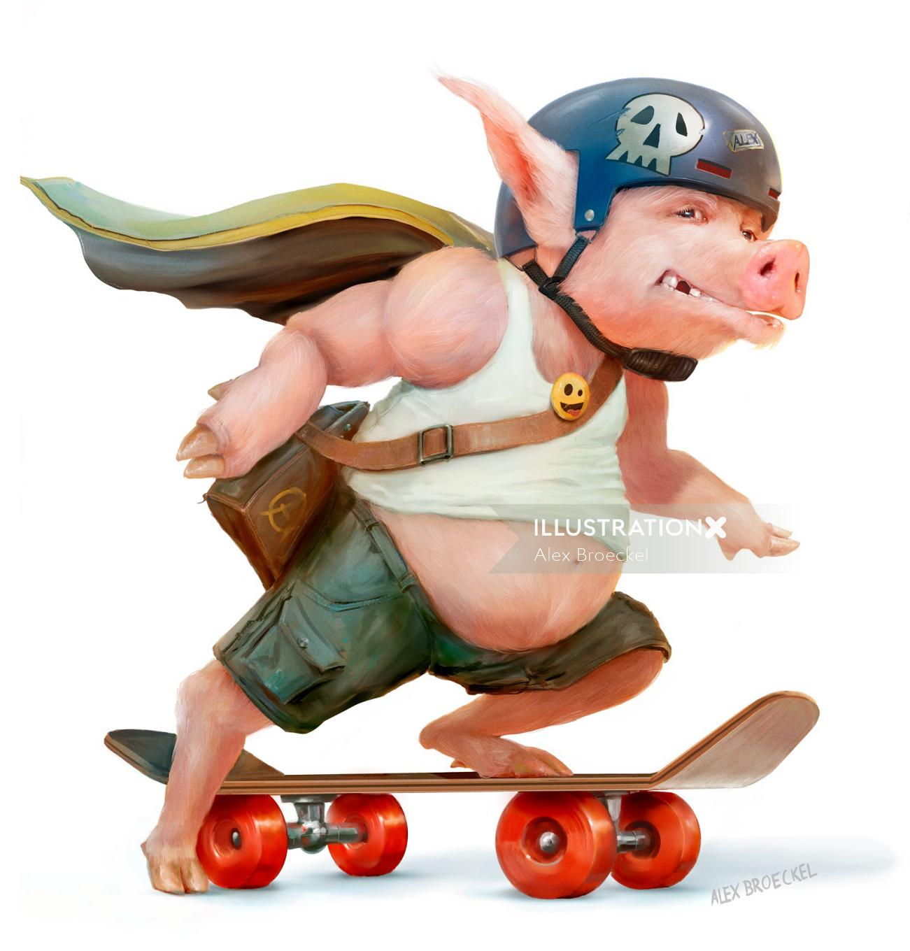 Cartoon piglet skateboarding