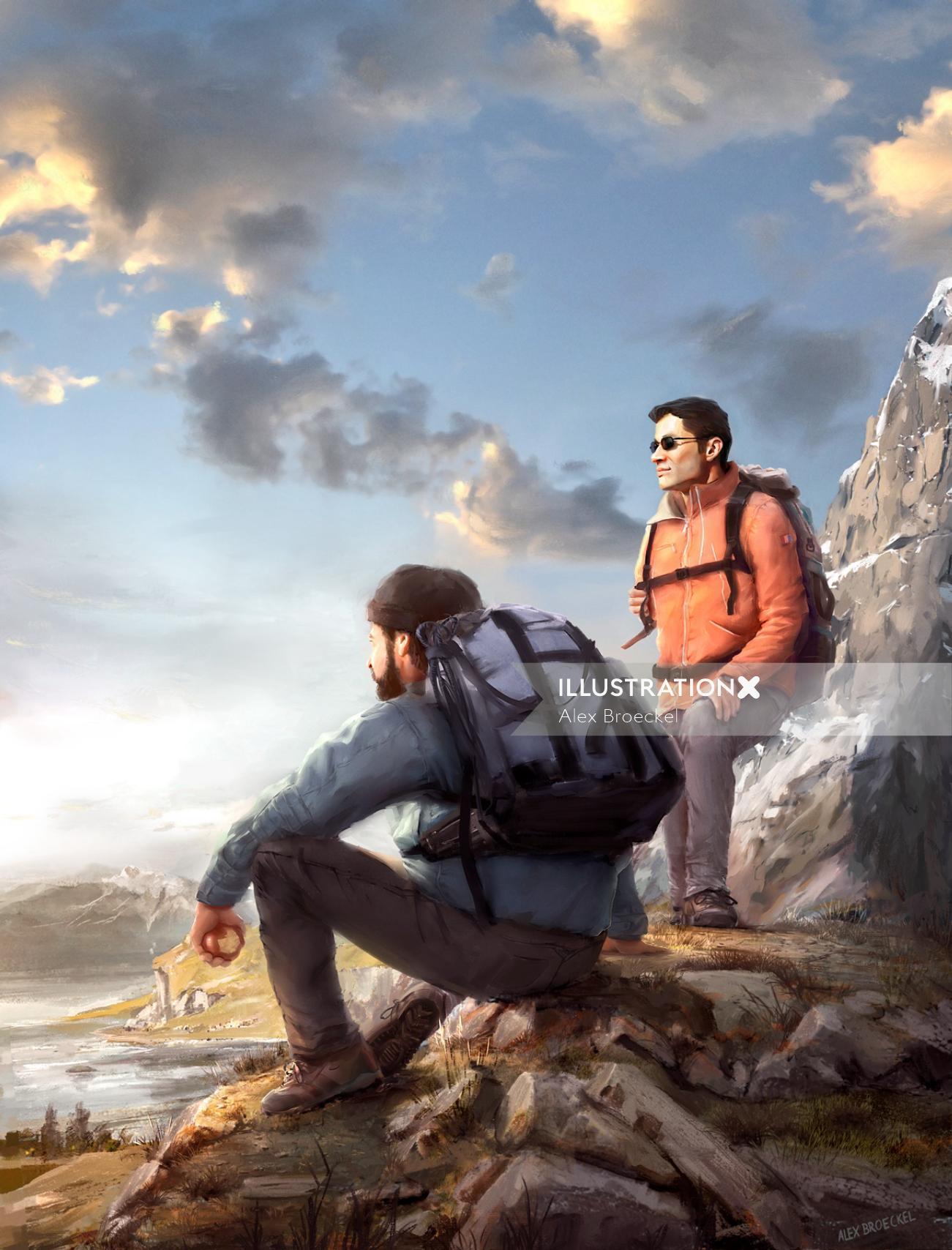3d illustration of people treking