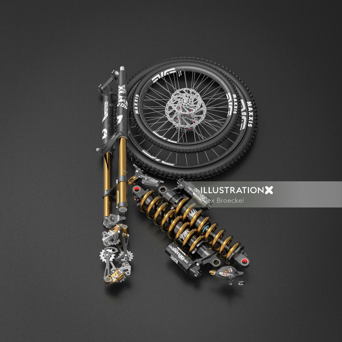 Technical wheels and shocks