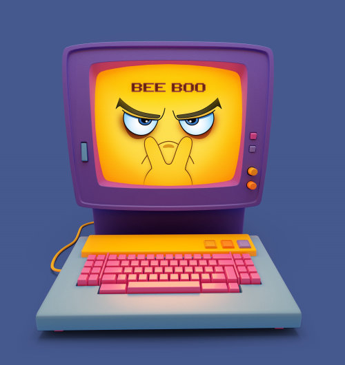 Graphic Computer bee boo