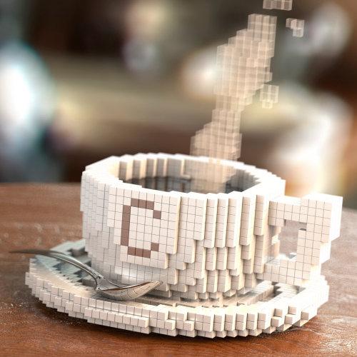 Ilustración de café de píxeles