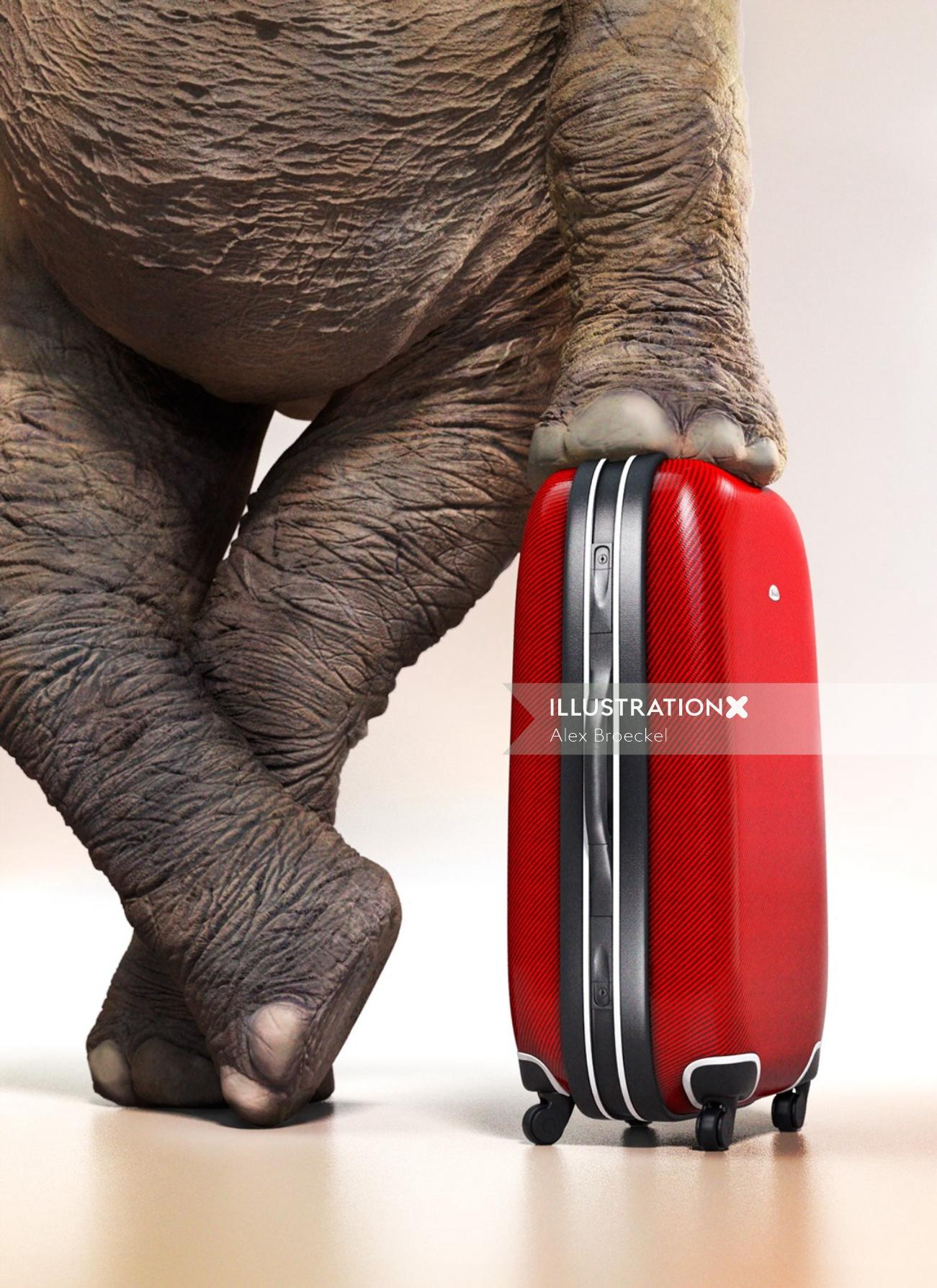 3D model suitcase with elephant