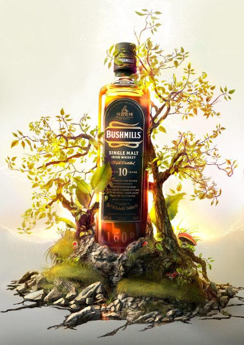 Ilustración 3D CGI para whisky Bushmills