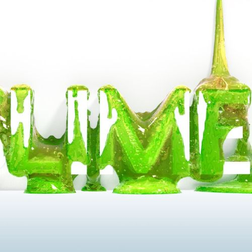 photorealistic 3d lettering slime