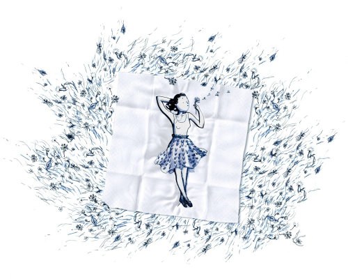 3d illustration of woman relaxing on mat