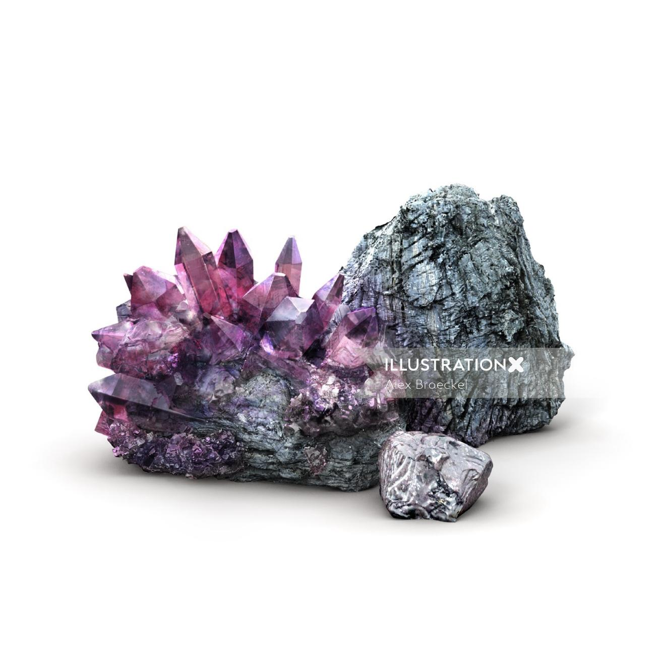 3d illustration of crystal