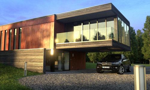 Representación 3D de casa de madera