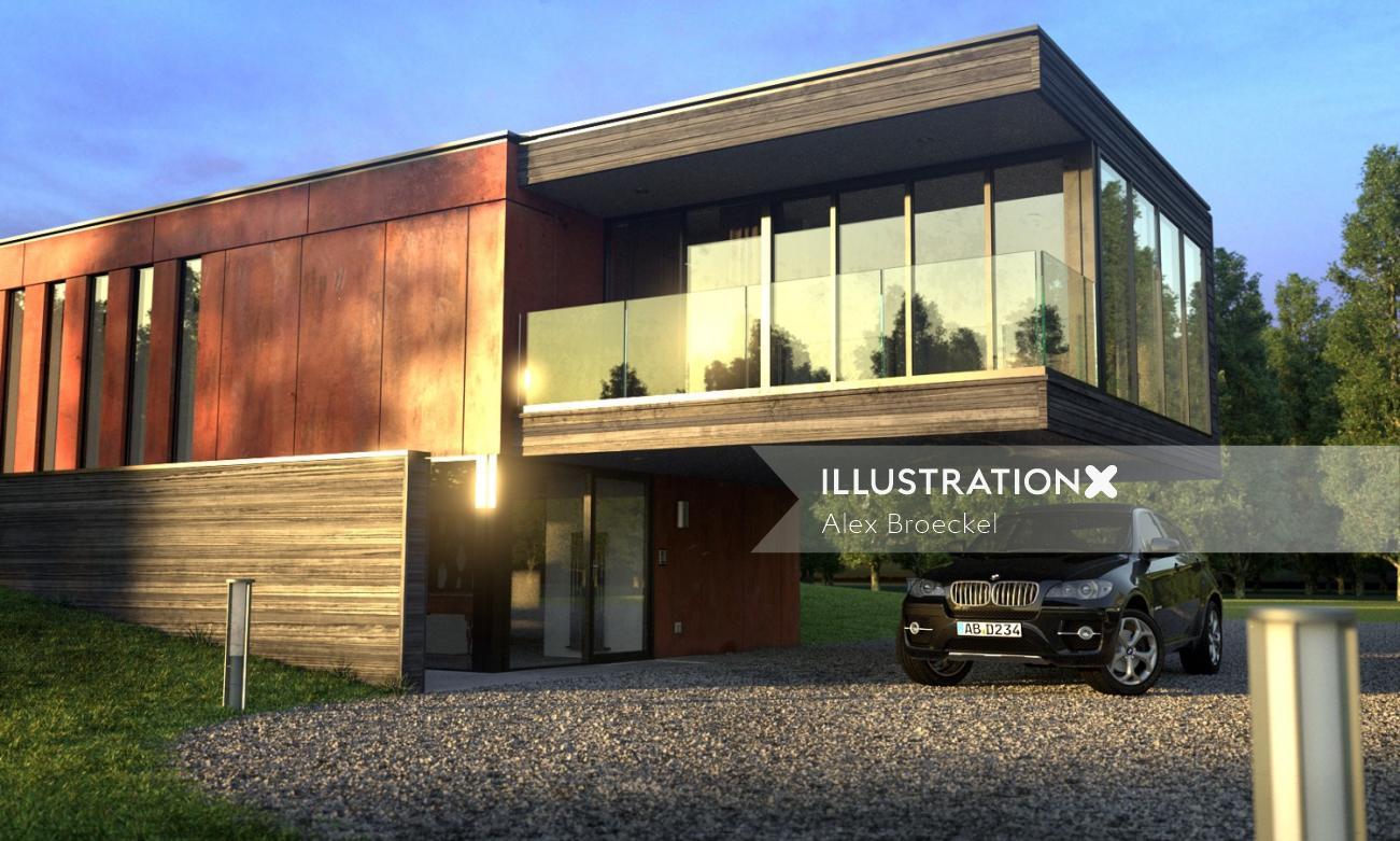 Wooden House 3D Rendering