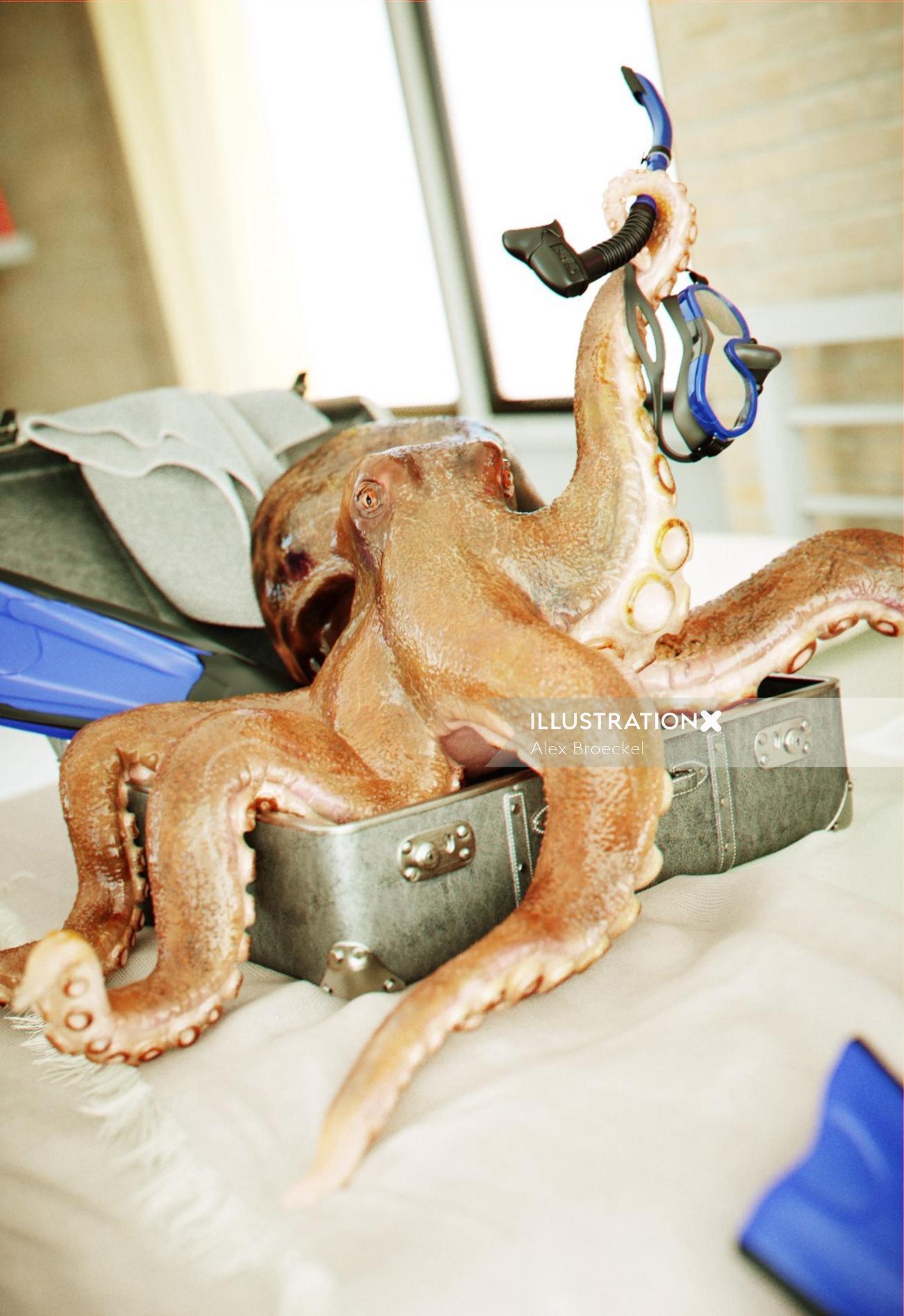 Photorealistic Illustration of Octopus