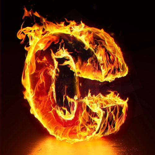 3d lettering C on fire