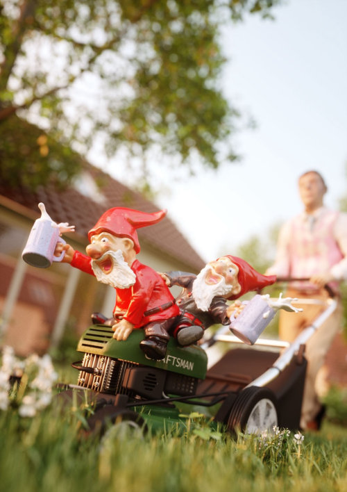 3d character design of santa in lawn machine