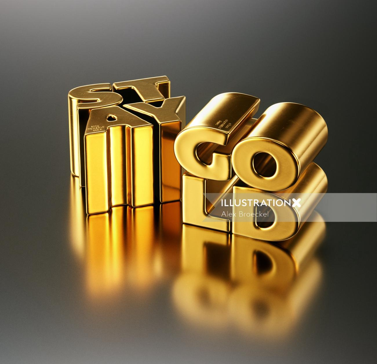 Stay Gold 3D Lettering Design