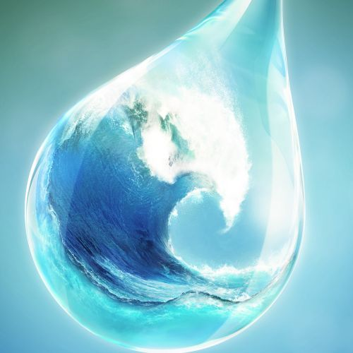 3d design of ocean in waterdrop