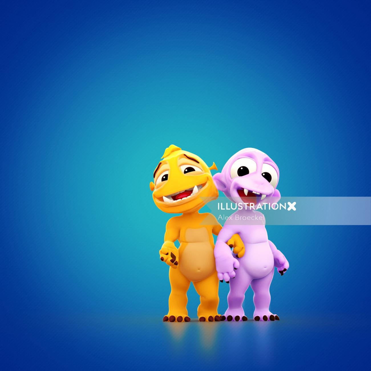 3d character design of monsters