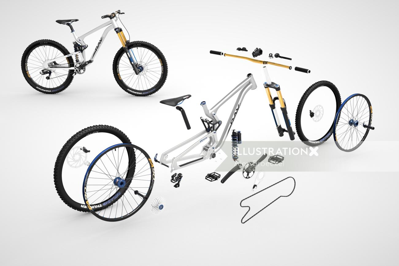 technical 3d illustration of cycle