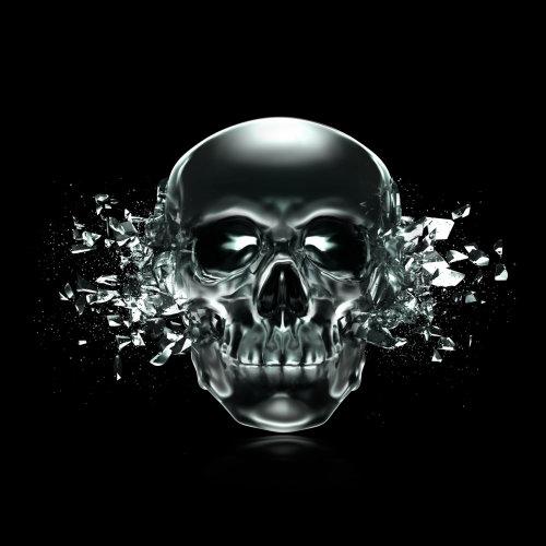 Illustration de crâne noir par Alex Broeckel