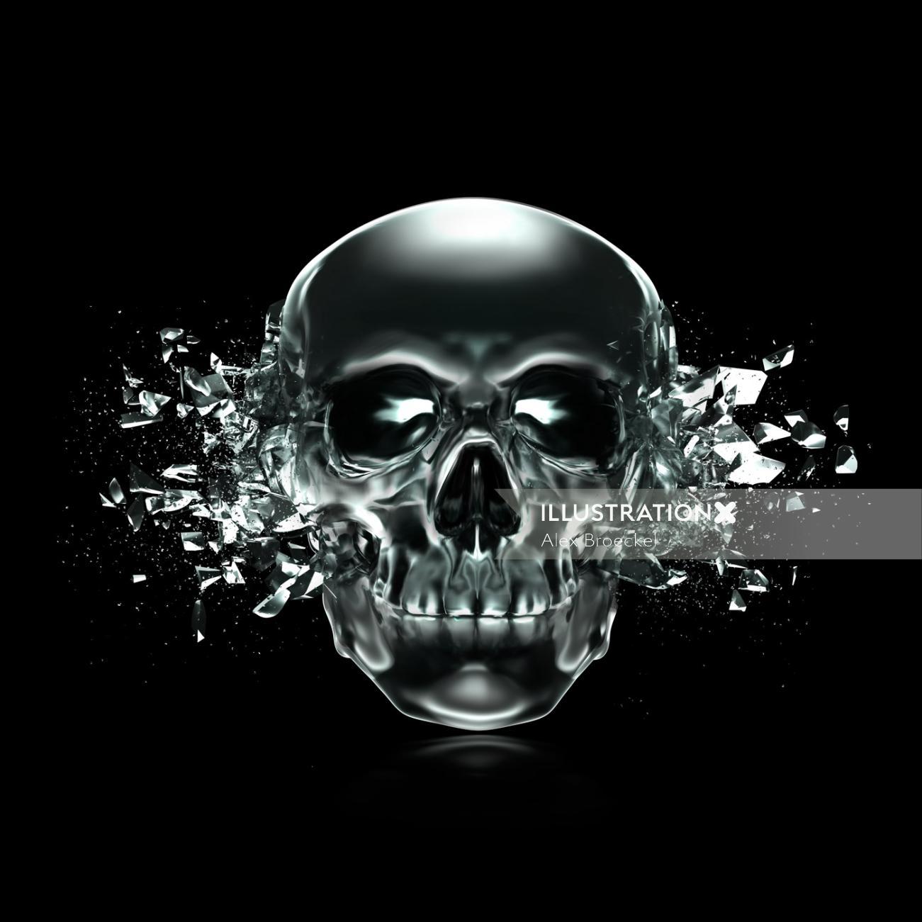 Black skull illustration by Alex Broeckel