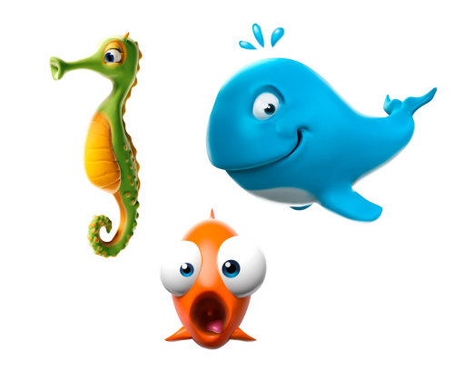 3d character design of water animals