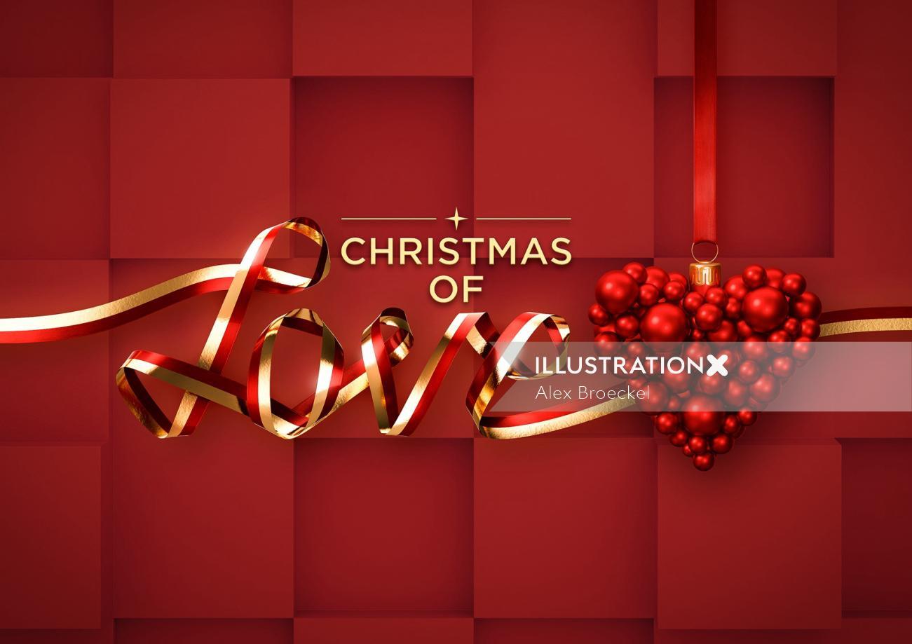 3d lettering christmas love