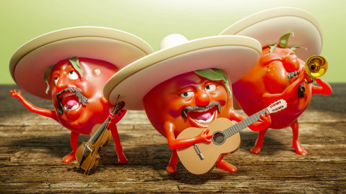 Tomates 3D jouant des instruments de musique