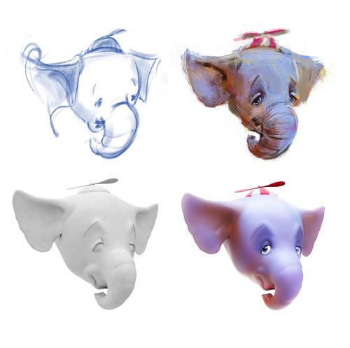 Ilustración CGI de cabeza de elefante
