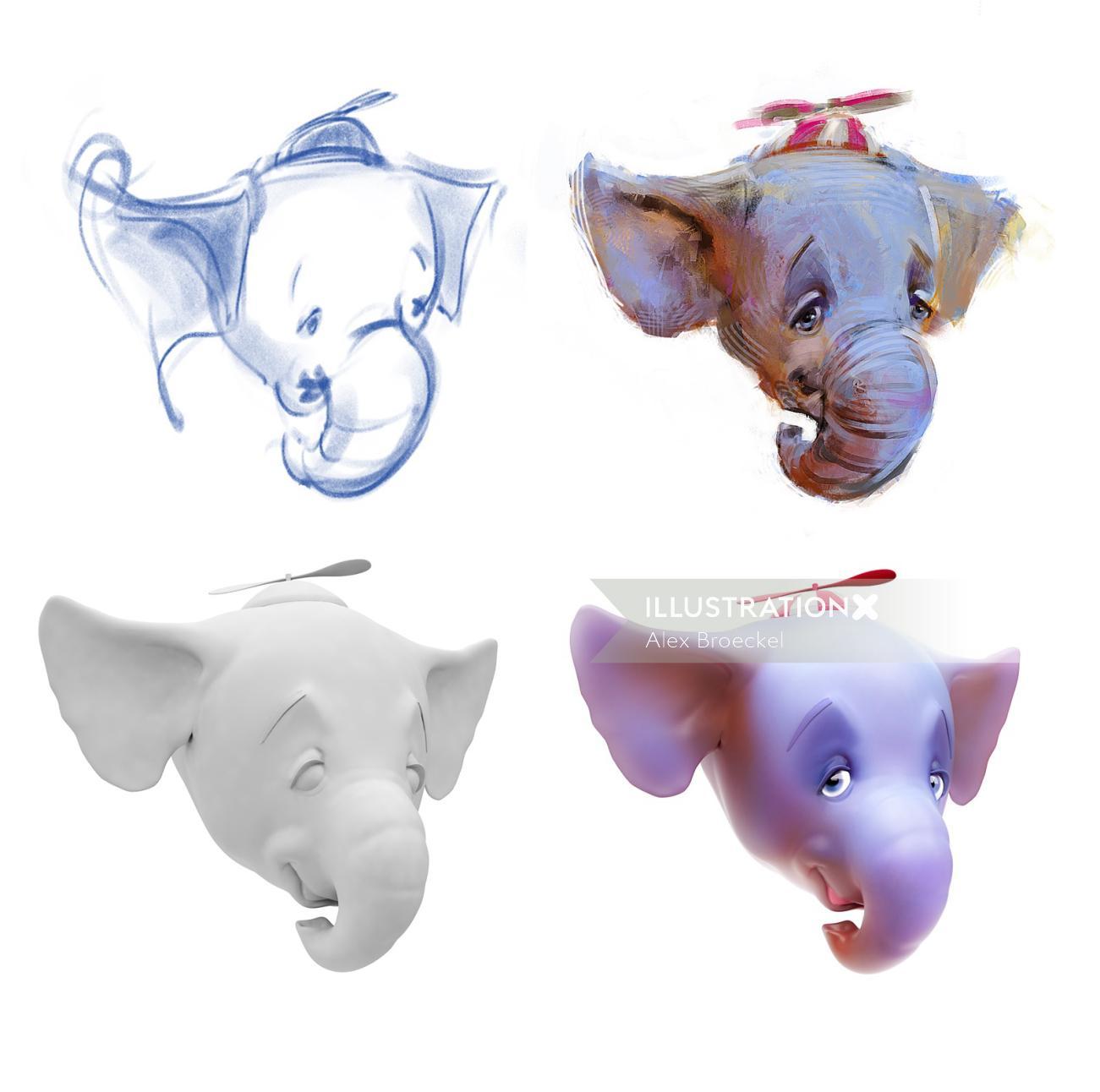 CGI Illustration of Elephant Head