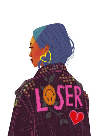 illustration of Girl wearing Loser Jacket