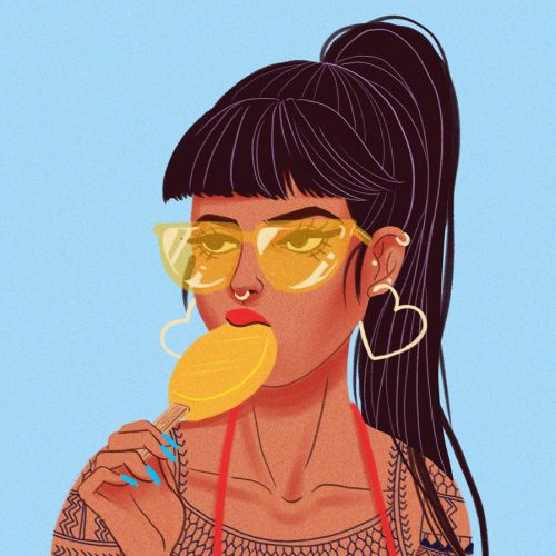 Tattoo Girl eating popsicle illustration