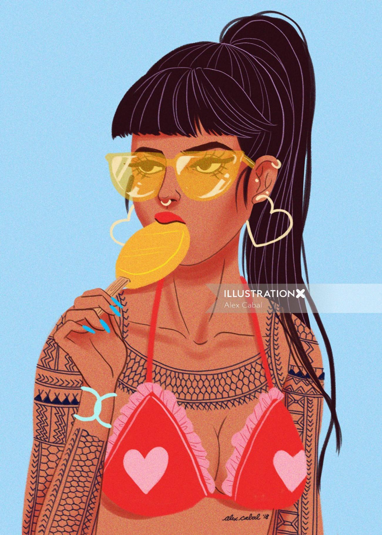 Tattoo Girl eating popsicle illustration