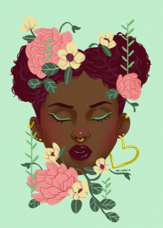 Floral Portrait illustration by Alex Cabal