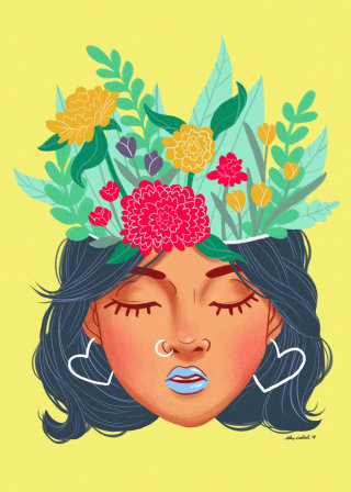 Portrait of Floral head girl