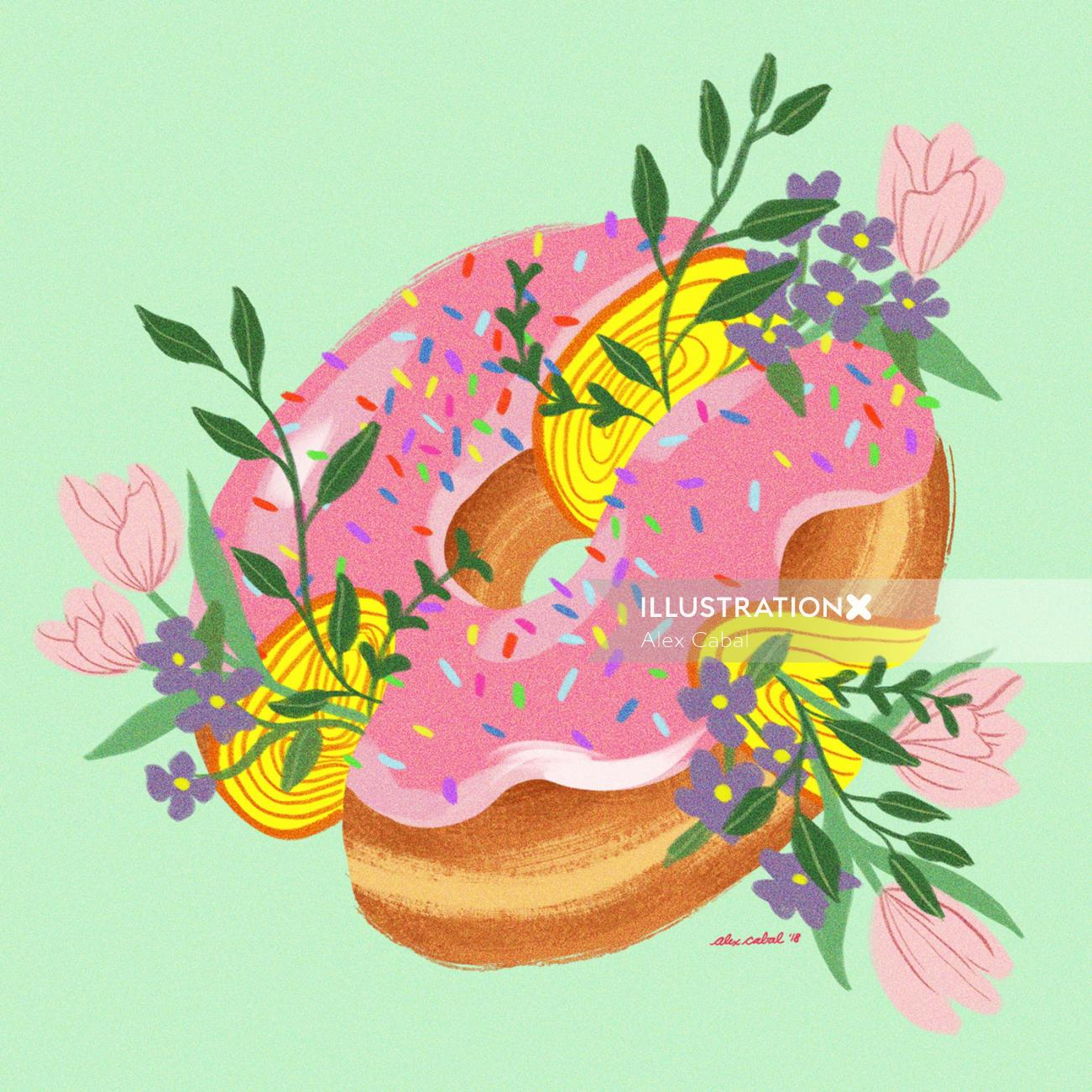 Beautiful Artwork of Donut with pink ice