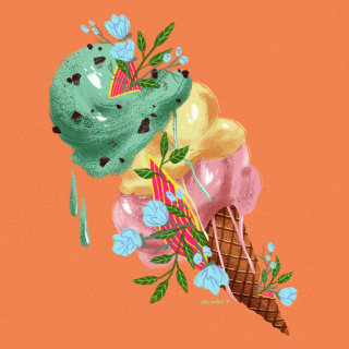 Digital art of floral icecream