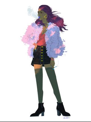 Watercolor Painting of fashion girl smoking