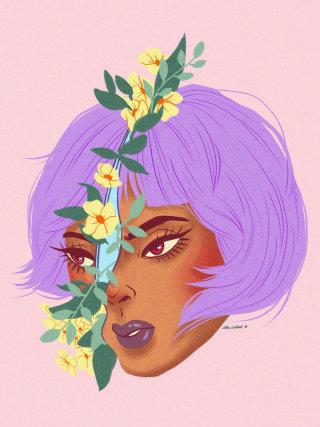 Painting of Purple Hair Girl