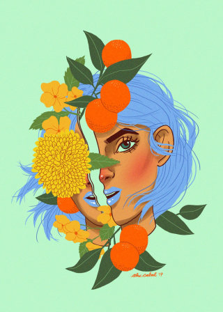 Artwork of orange girl with leaves