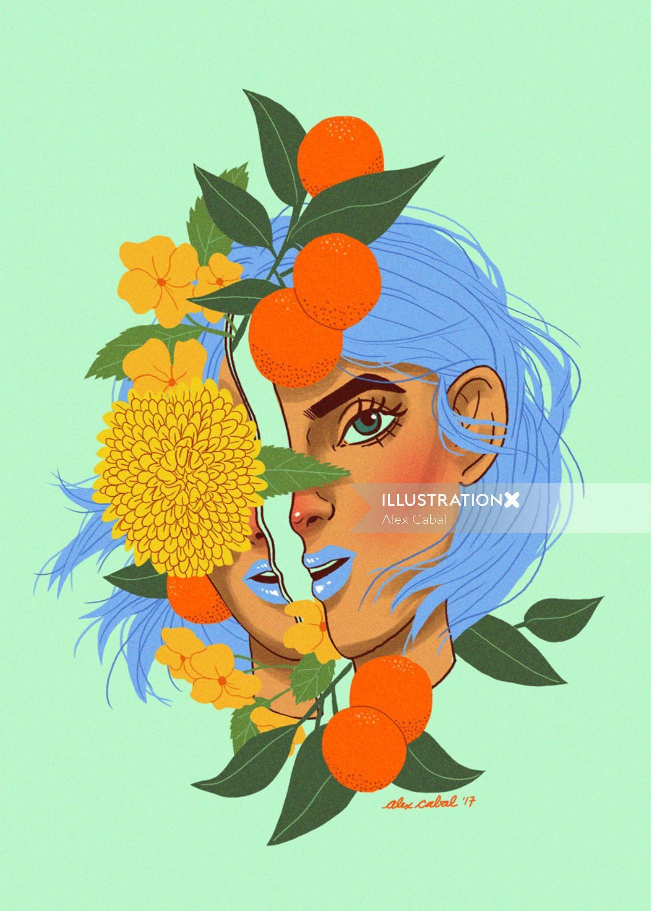 Artwork of orange girl with leaves