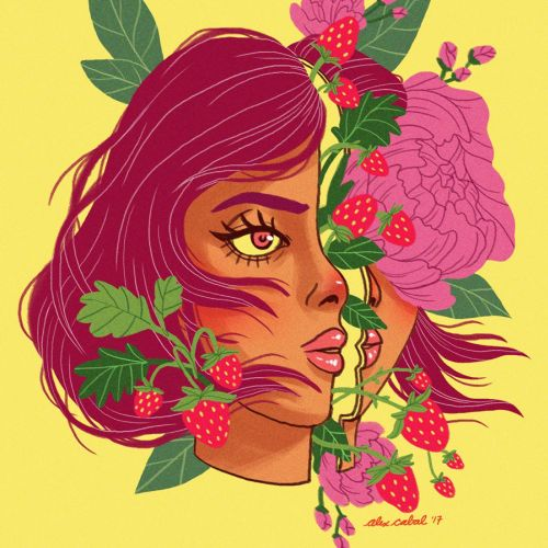 Strawberry girl portrait