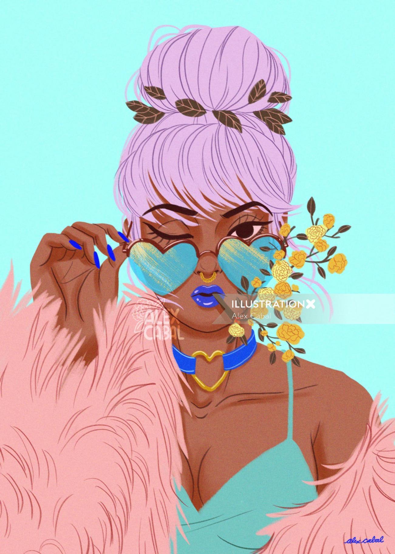 illustration of Floral Girl