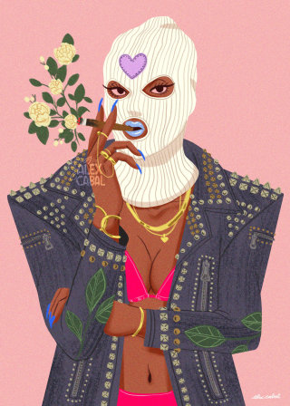 Artwork of a lady wearing skimask with smoking weed