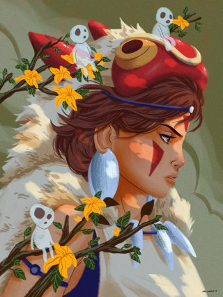 Drawing of cartoon character princess mononoke