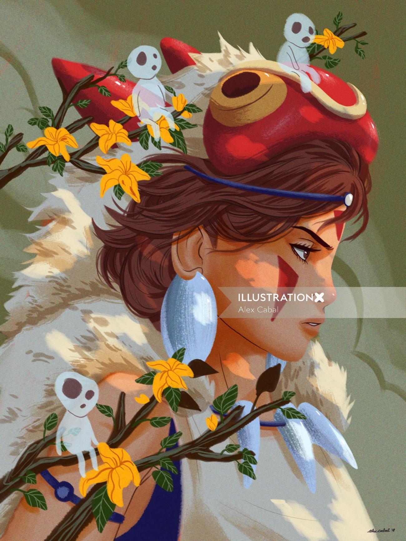 Drawing of cartoon character princess mononoke