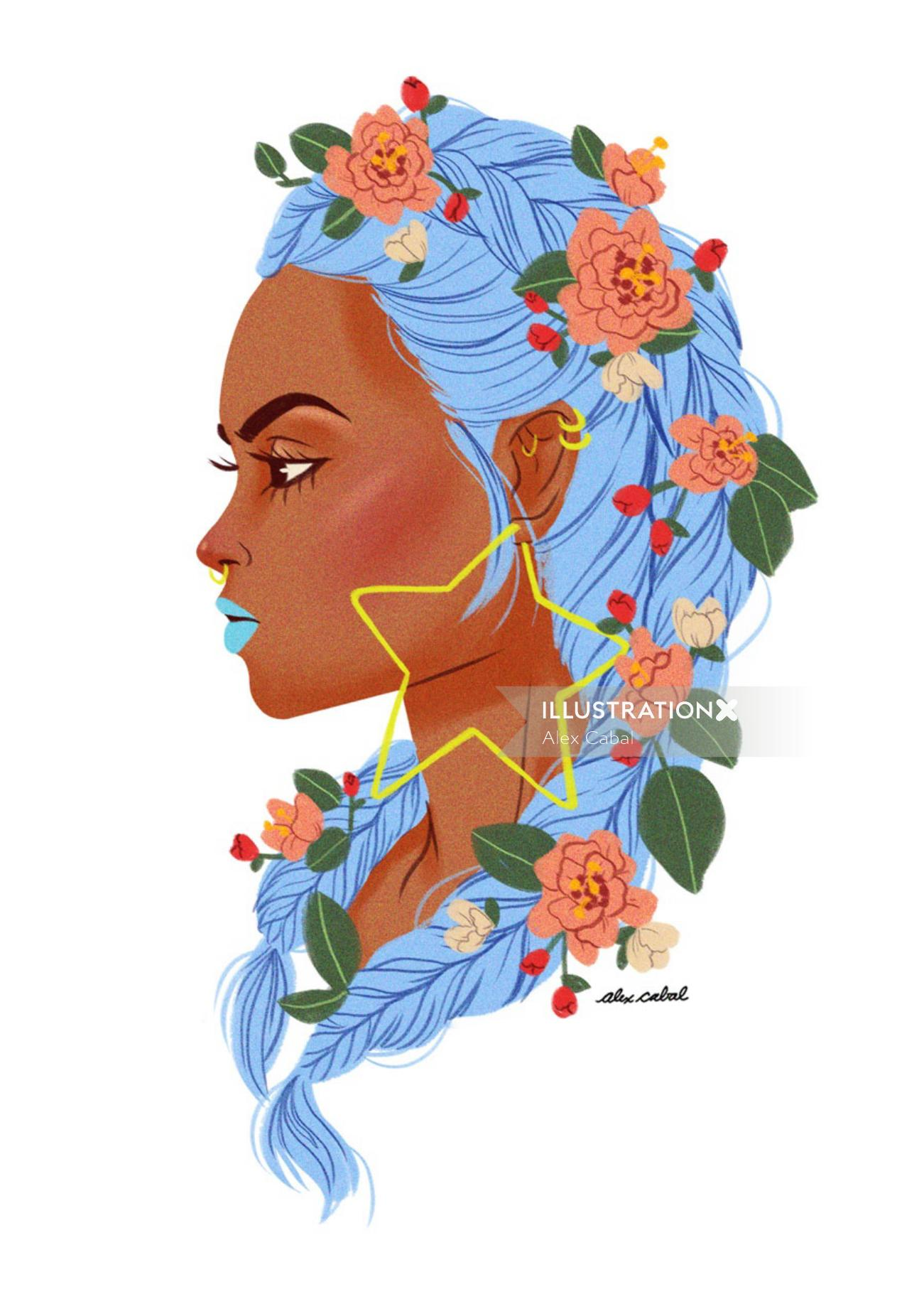Floral Portrait of a Lady with Blue Theme