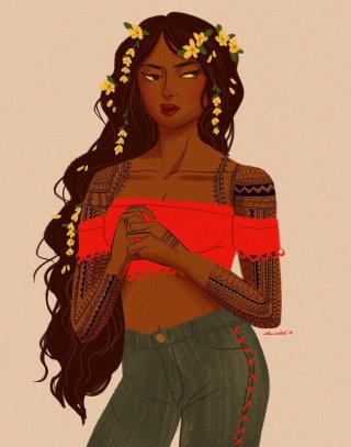 Digital Floral Painting of Sampaguita Jasmine Girl