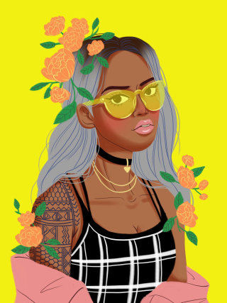 illustration of floral Girl with yellow glasses