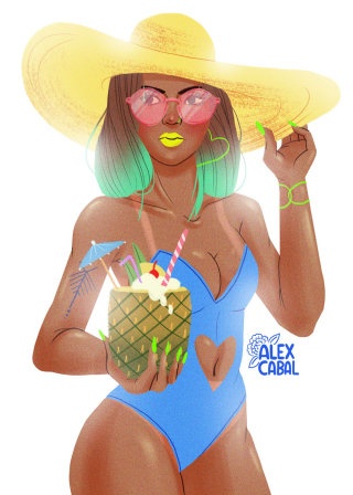 illustration of swimsuit girl with pina colada