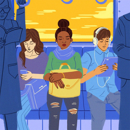 Editorial illustration of people in bus