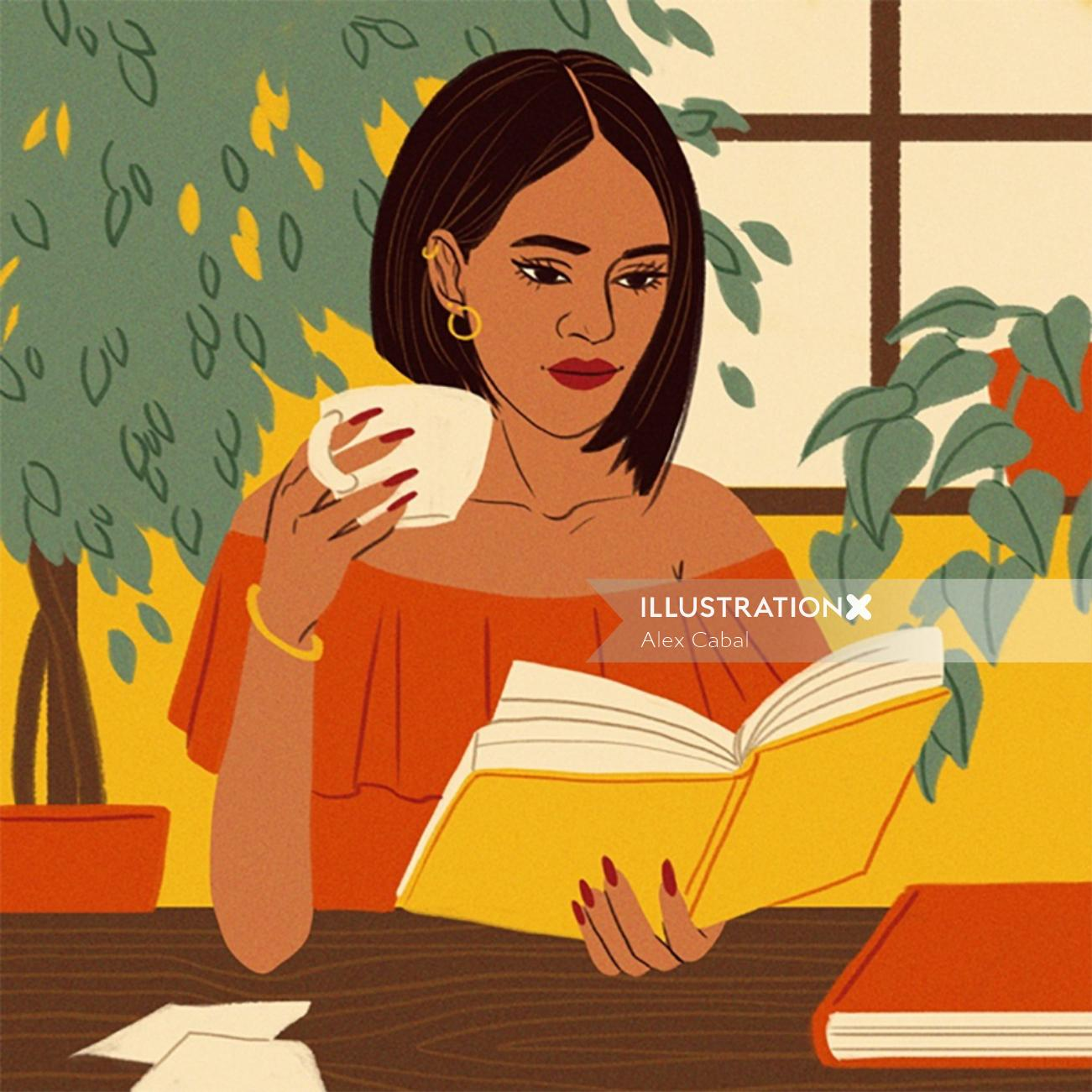 Lifestyle woman reading book with coffee