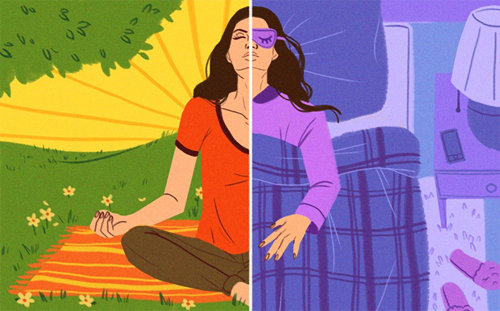 Editorial illustration of woman meditating