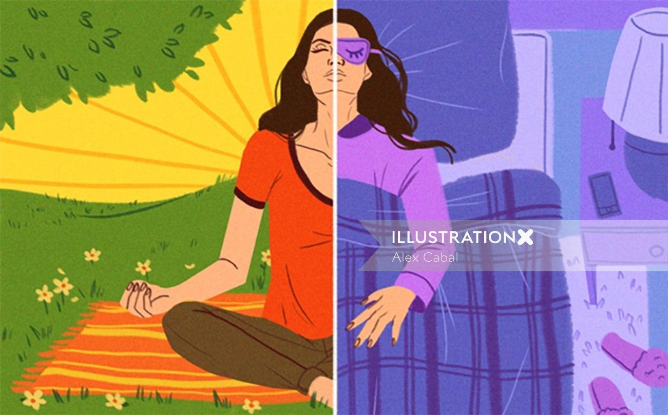 Editorial illustration of woman meditating
